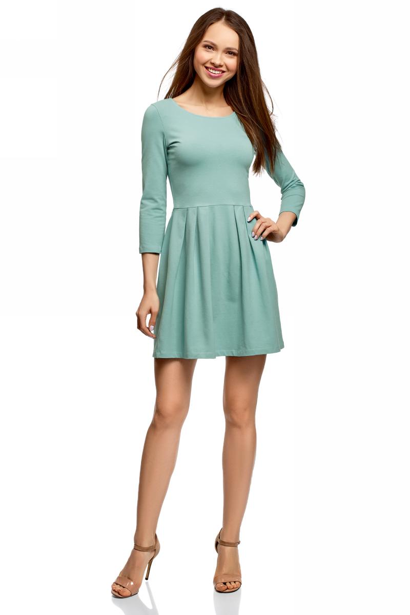 Платье oodji Ultra, цвет: бирюза. 14011005-3B/47671/7300N. Размер XL (50) платье трикотажное с ажурным вырезом