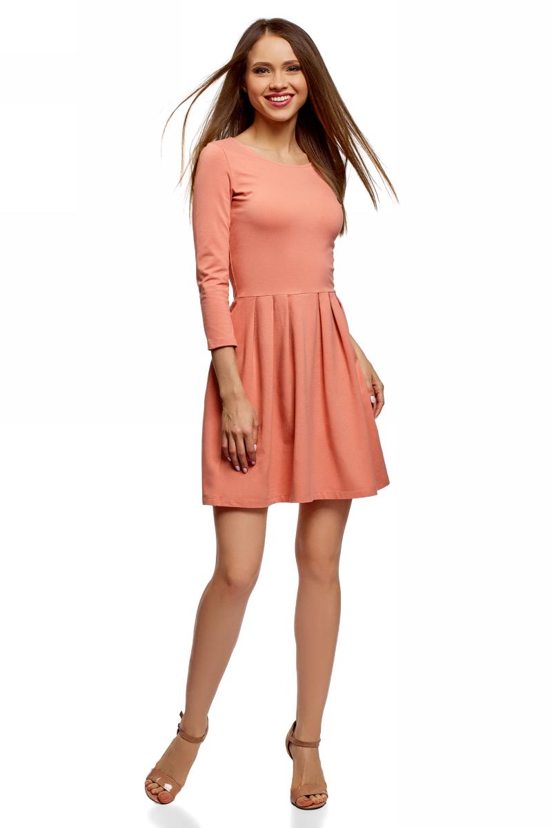 Платье oodji Ultra, цвет: карамель. 14011005-3B/47671/4B00N. Размер XL (50)