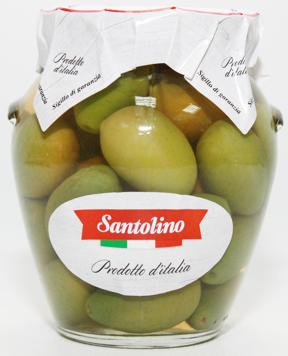 Santolino Оливки гигант зеленые с косточкой, 314 мл село зеленое сыр гауда премиум 40% 250 г