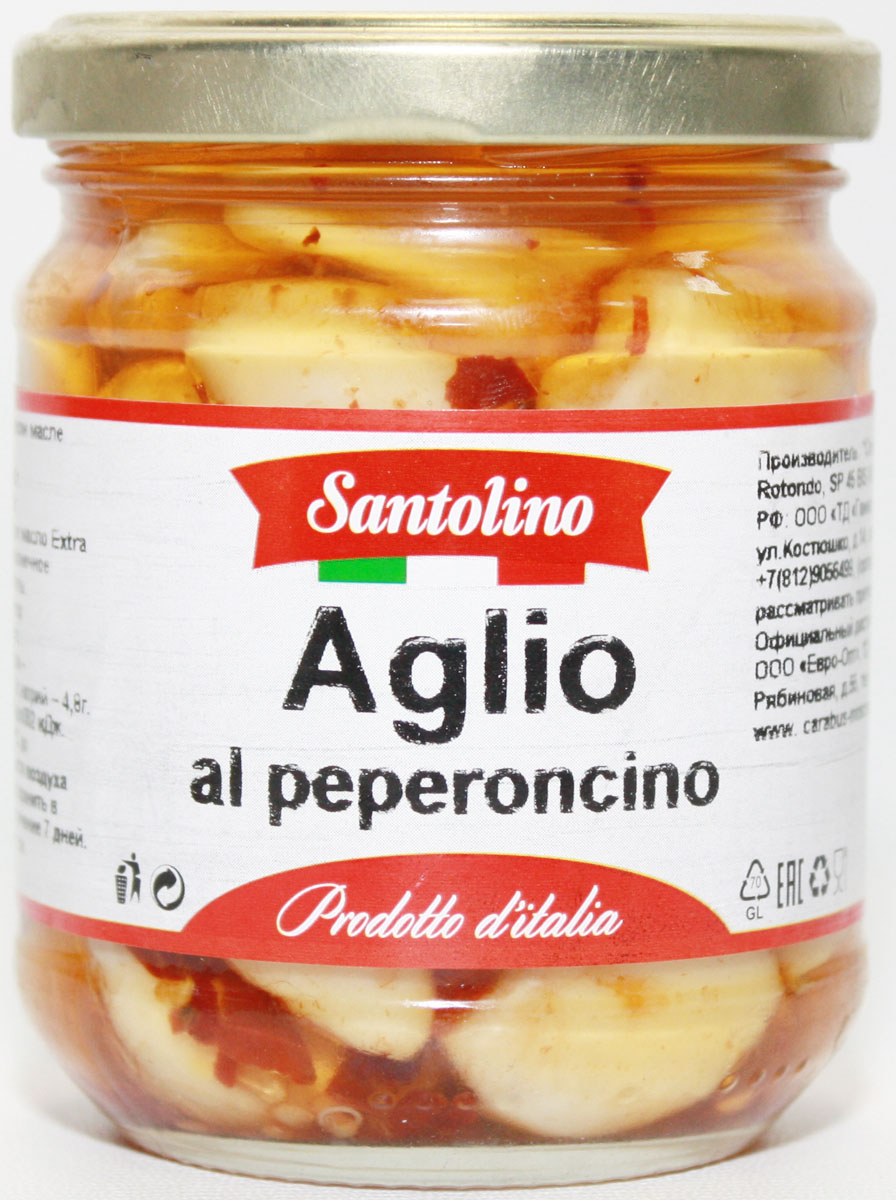 Santolino Чеснок с перцем чили в оливковом масле, 212 мл santolino маслины вяленые 400 г