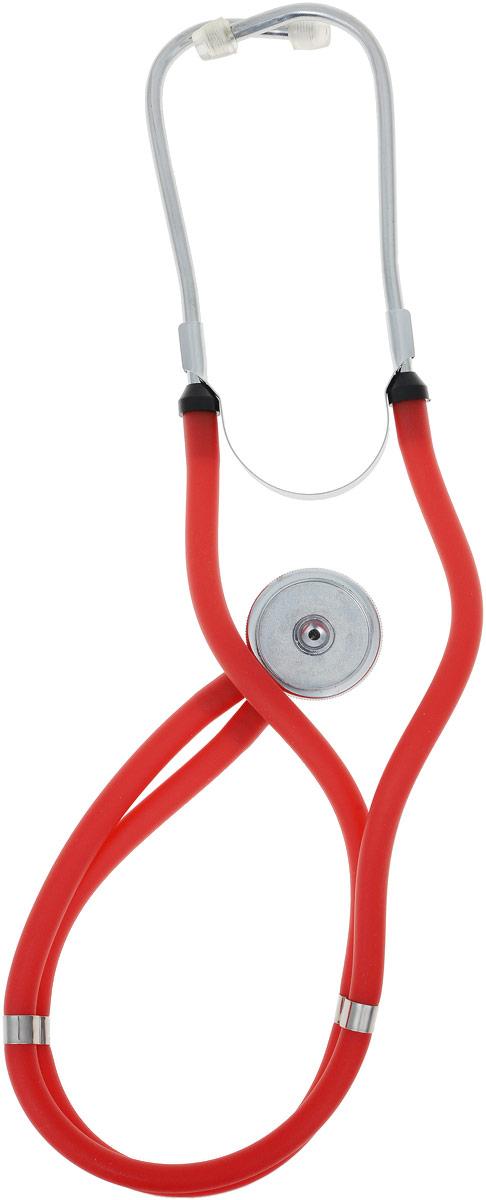 Amrus Медицинский стетоскоп Раппопорта. Пять вариантов рабочей комплектации: большая и малая мембрана, цвет: красный
