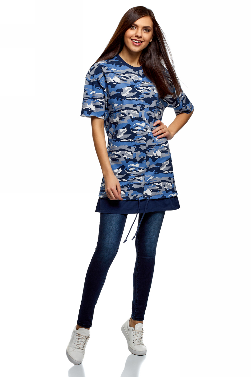Платье oodji Ultra, цвет: синий, светло-серый. 14008023/48193/7520O. Размер XL (50) платье oodji ultra цвет сиреневый 14017001 6b 47420 8000n размер xl 50