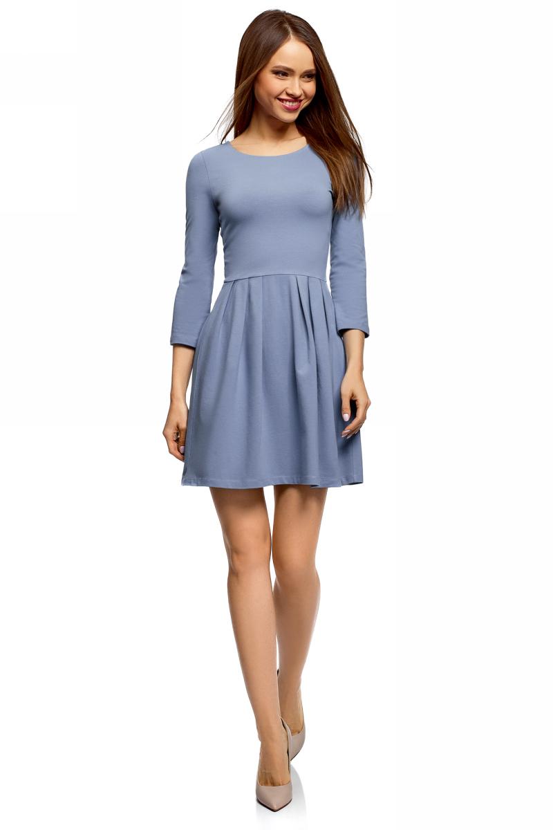 Платье oodji Ultra, цвет: синий. 14011005-3B/47671/7501N. Размер XXS (40) платье трикотажное с ажурным вырезом