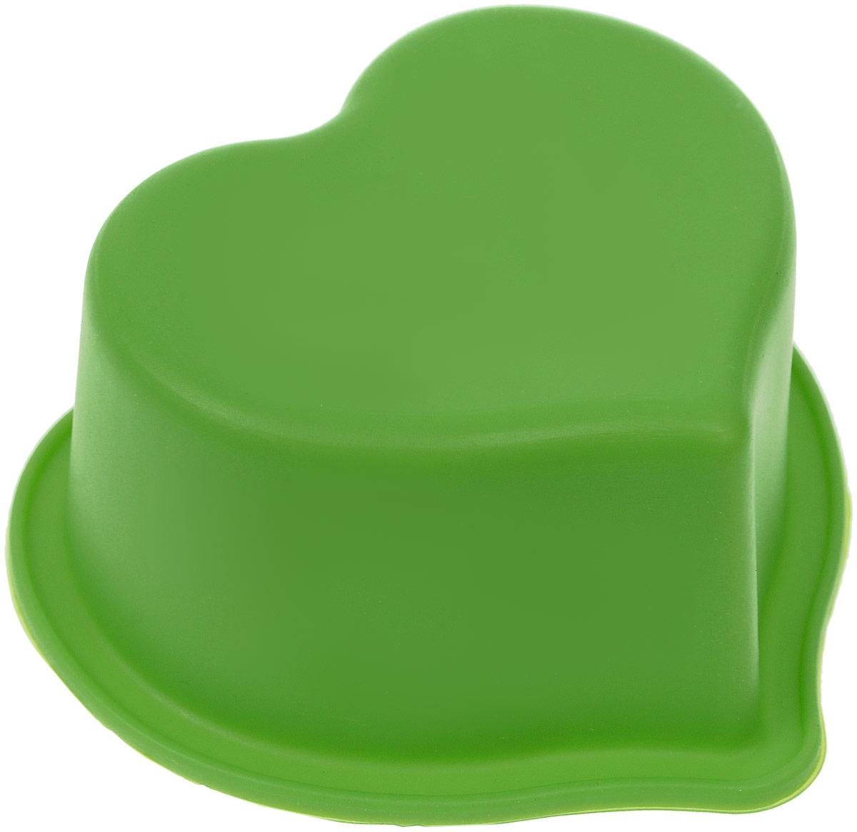 """Форма для выпечки Доляна """"Сердечко"""" 8 см, цвет: зеленый"""