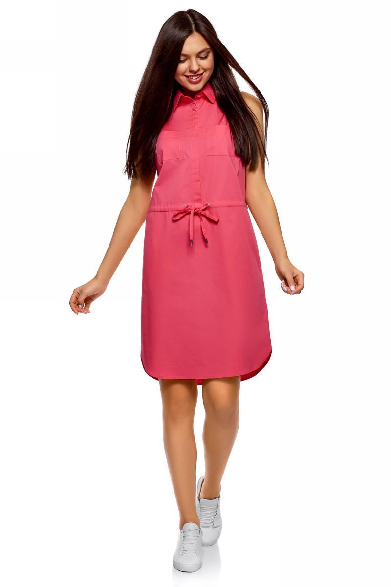 Платье oodji Ultra, цвет: ярко-розовый. 11901147-5B/42468/4D00N. Размер 34 (40-170)11901147-5B/42468/4D00NПлатье oodji Ultra выполнено из хлопка. Модель с отложным воротником застегивается сверху на пуговицы, талия на кулиске.