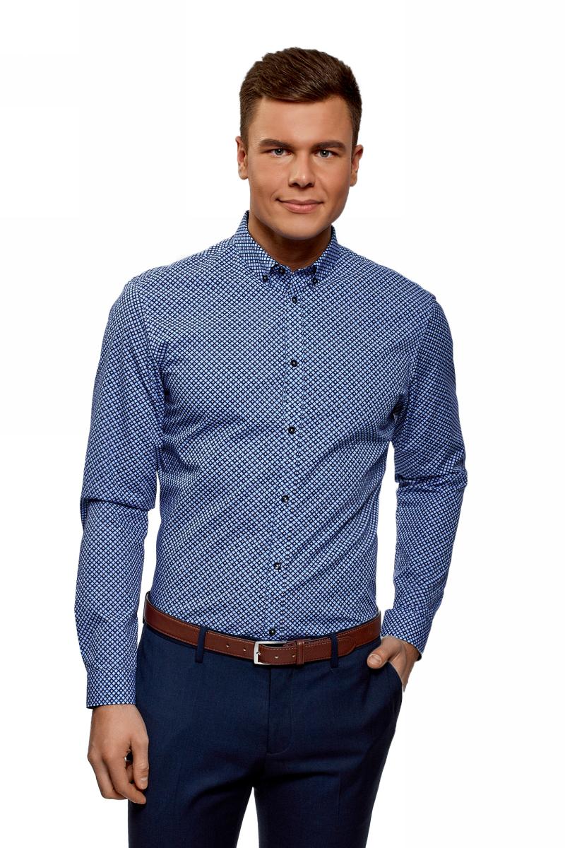Рубашка мужская oodji Basic, цвет: голубой, темно-синий. 3B110027M/19370N/7079G. Размер 41 (50-182) рубашка мужская oodji basic цвет голубой темно синий 3b140005m 34146n 7079b размер 43 182 54 182
