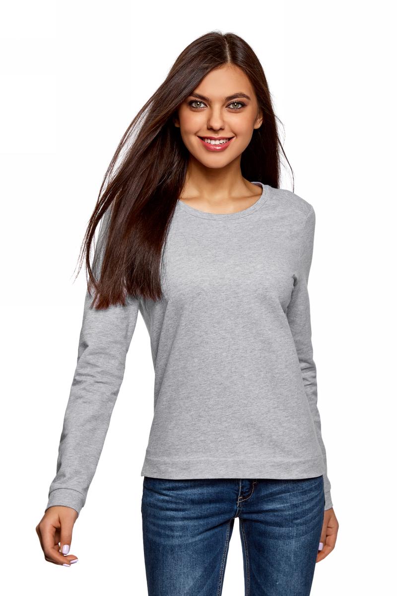 Свитшот женский oodji Ultra, цвет: светло-серый меланж. 14801010-20B/46155/2000M. Размер L (48)
