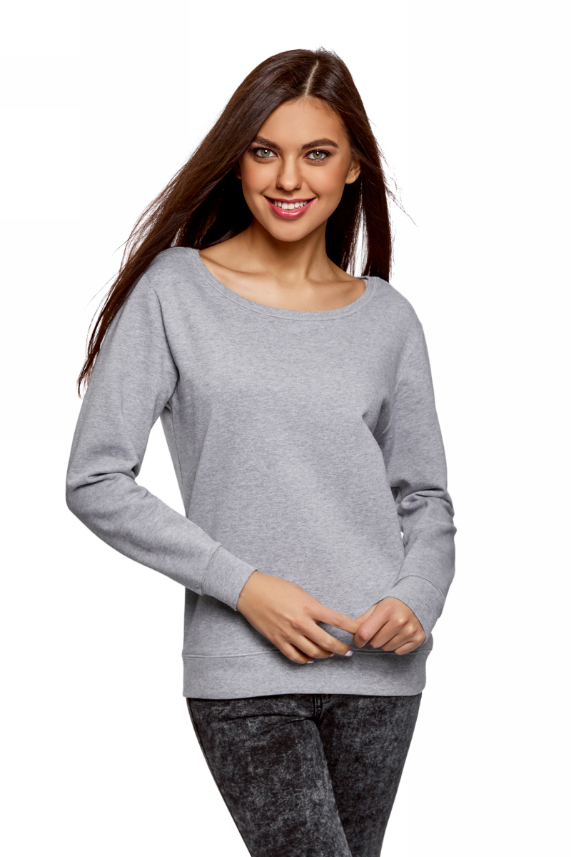 Купить Свитшот женский oodji Ultra, цвет: светло-серый меланж. 14801067B/47999/2000M. Размер S (44)
