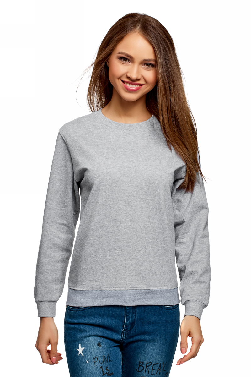 Купить Свитшот женский oodji Ultra, цвет: светло-серый меланж. 14808029B/48060/2000M. Размер M (46)