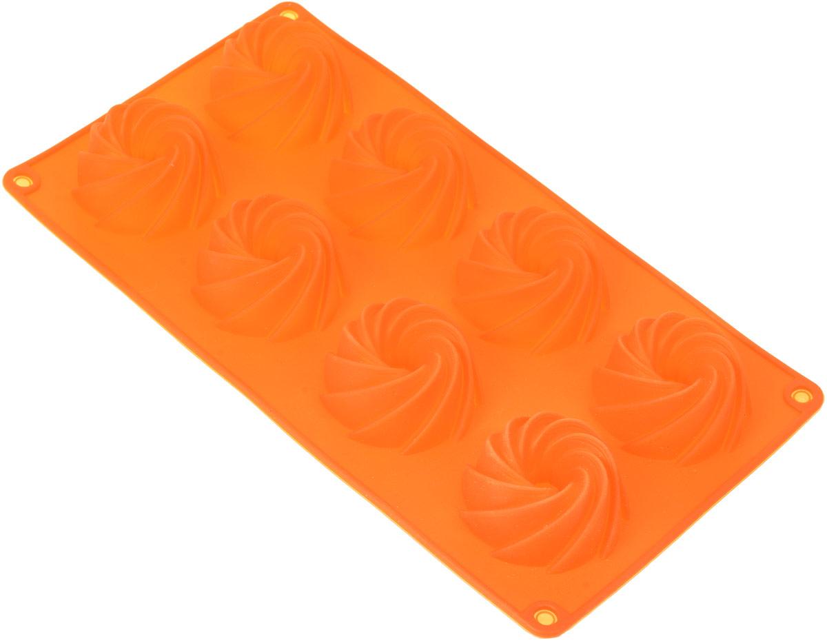 Форма для выпечки Доляна Загадка, цвет: оранжевый, 29 х 16 х 3 см, 8 ячеек ваза mughal l 20 х 20 х 30 см