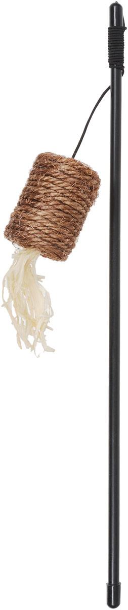 Дразнилка для кошек Уют Катушка, 40 см, цвет: коричневыйИУ105_коричневый