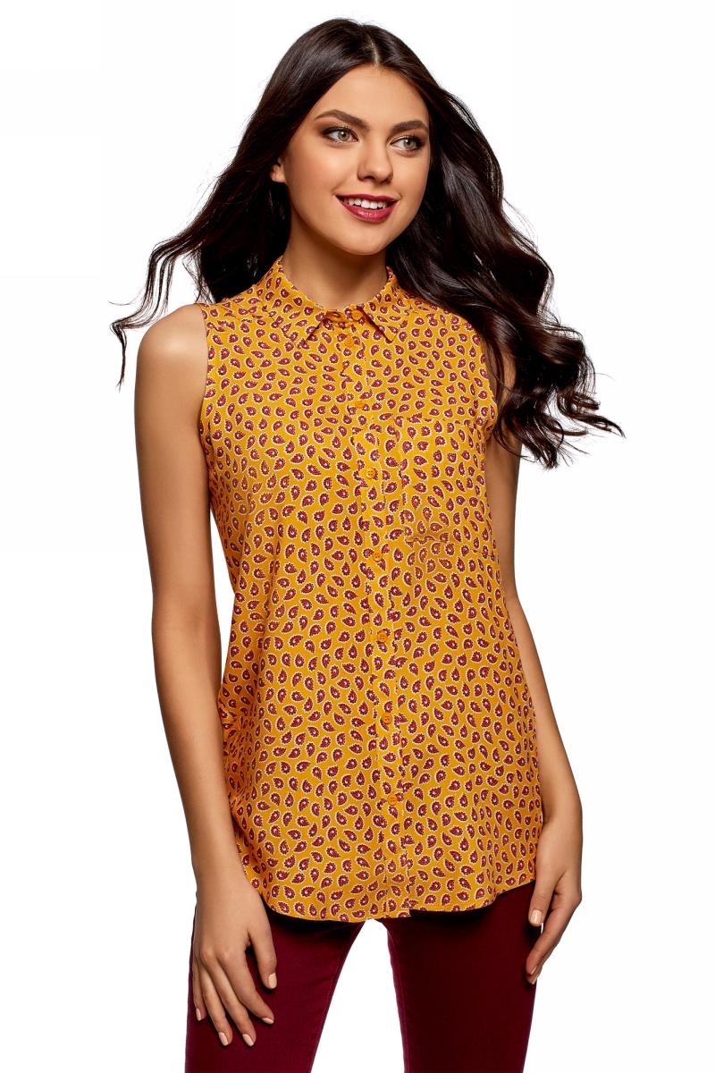 Рубашка женская oodji Ultra, цвет: горчичный, коралловый. 14911009B/26346/5743E. Размер 44 (50-170)14911009B/26346/5743EЖенская рубашка oodji выполнена из вискозы. Модель с отложным воротником и без рукавов на груди дополнена накладным карманом.