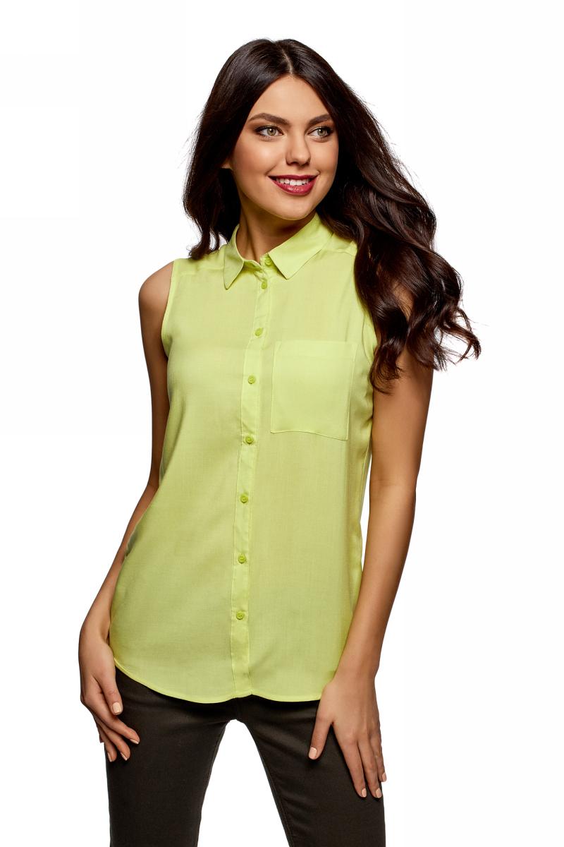 Рубашка женская oodji Ultra, цвет: зеленое яблоко. 14911009B/26346/6A00N. Размер 44 (50-170) oodji 11411123 26346 7975d