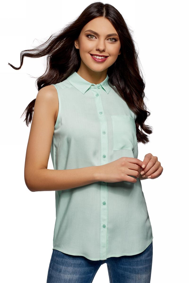 Рубашка женская oodji Ultra, цвет: ментол. 14911009B/26346/6500N. Размер 34 (40-170)14911009B/26346/6500NЖенская рубашка oodji выполнена из вискозы. Модель с отложным воротником и без рукавов на груди дополнена накладным карманом.