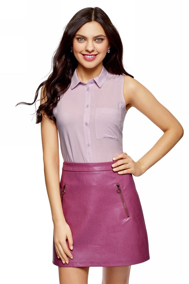 Рубашка женская oodji Ultra, цвет: светло-розовый. 14911009B/26346/4000N. Размер 42 (48-170)14911009B/26346/4000NЖенская рубашка oodji выполнена из вискозы. Модель с отложным воротником и без рукавов на груди дополнена накладным карманом.