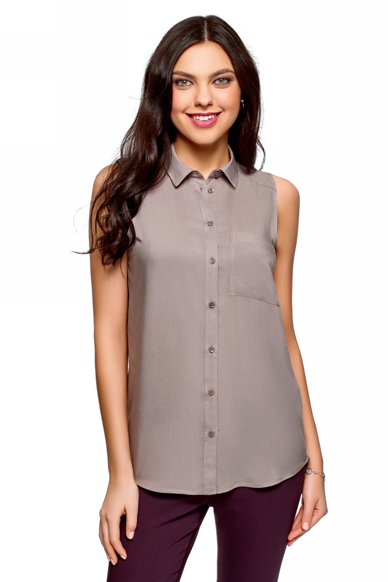 Рубашка женская oodji Ultra, цвет: серый. 14911009B/26346/2300N. Размер 38 (44-170)14911009B/26346/2300NЖенская рубашка oodji выполнена из вискозы. Модель с отложным воротником и без рукавов на груди дополнена накладным карманом.