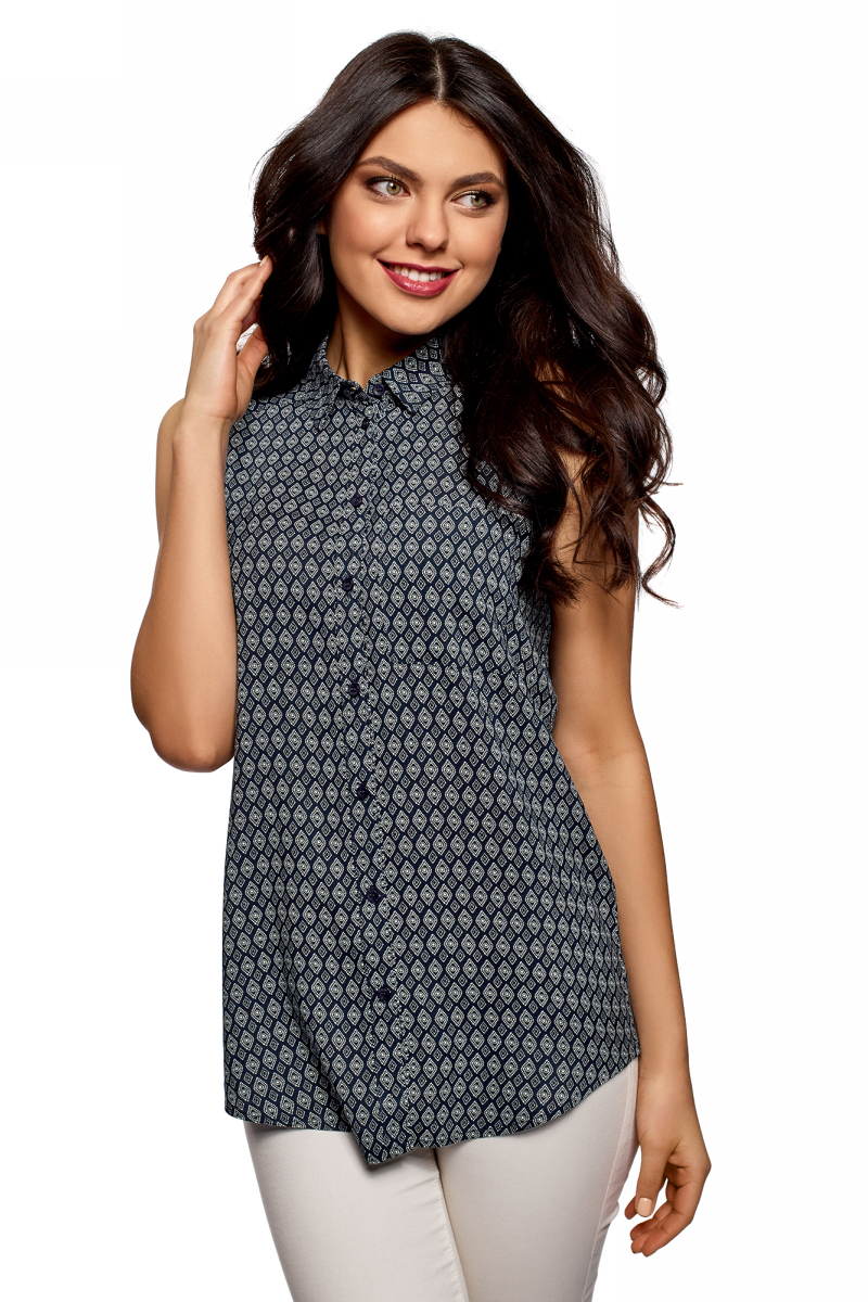 Рубашка женская oodji Ultra, цвет: темно-синий, белый. 14911009B/26346/7910G. Размер 34 (40-170) ночная рубашка женская коллекция цвет темно синий осрн 18 размер 56