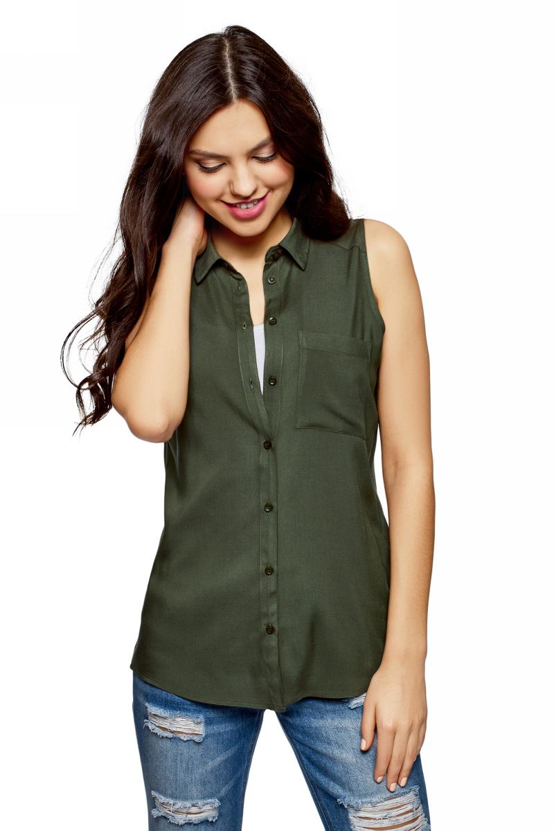 Рубашка женская oodji Ultra, цвет: темный хаки. 14911009B/26346/6800N. Размер 36 (42-170)