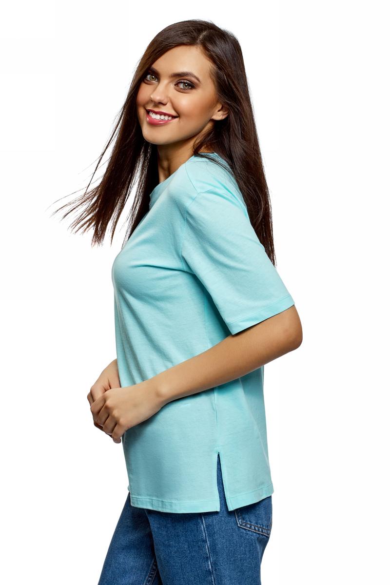 Футболка женская oodji Ultra, цвет: голубой. 14708022B/48005/7000N. Размер XXS (40) футболка женская oodji ultra цвет бледно сиреневый 14708022b 48005 8002n размер xxl 52
