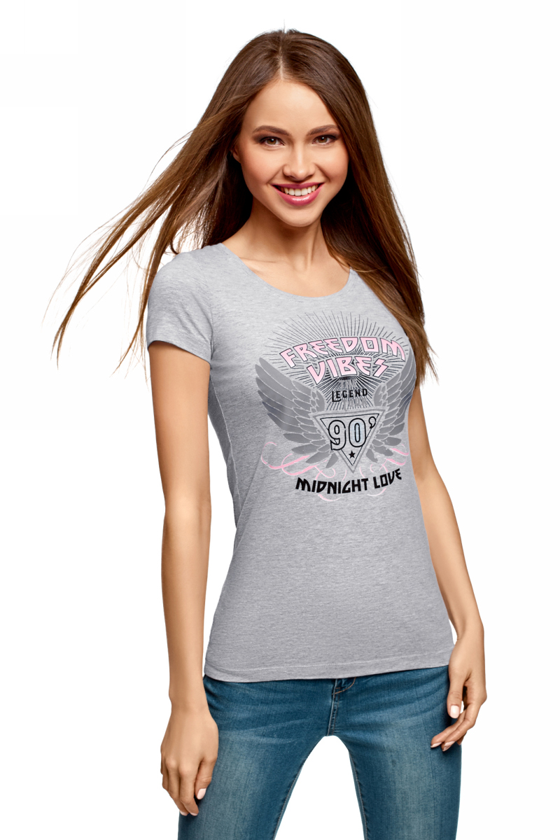 Футболка женская oodji Ultra, цвет: светло-серый, серый меланж. 14701005-24/46147/2023Z. Размер XXS (40) футболка женская oodji ultra цвет светло серый меланж 3 шт 14701005t3 46147 2000m размер xl 50