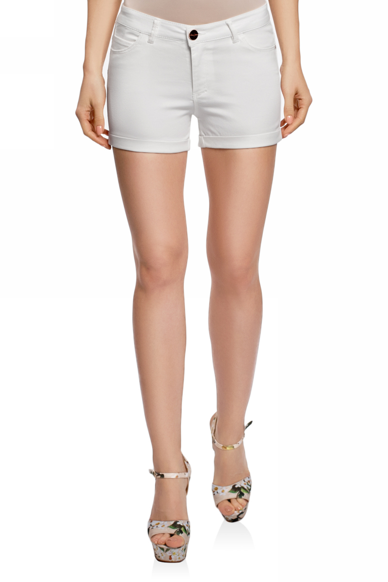 Шорты женские oodji Ultra, цвет: белый джинс. 12807082B/45491/1200W. Размер 25 (40)