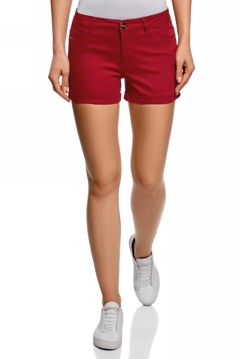 Шорты женские oodji Ultra, цвет: красный джинс. 12807082B/45491/4500W. Размер 25 (40)