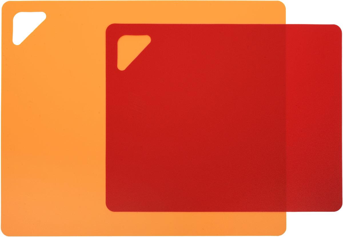 """Разделочная доска """"Домашний Сундук"""", гибкая, цвет: оранжевый, красный, 2 шт"""