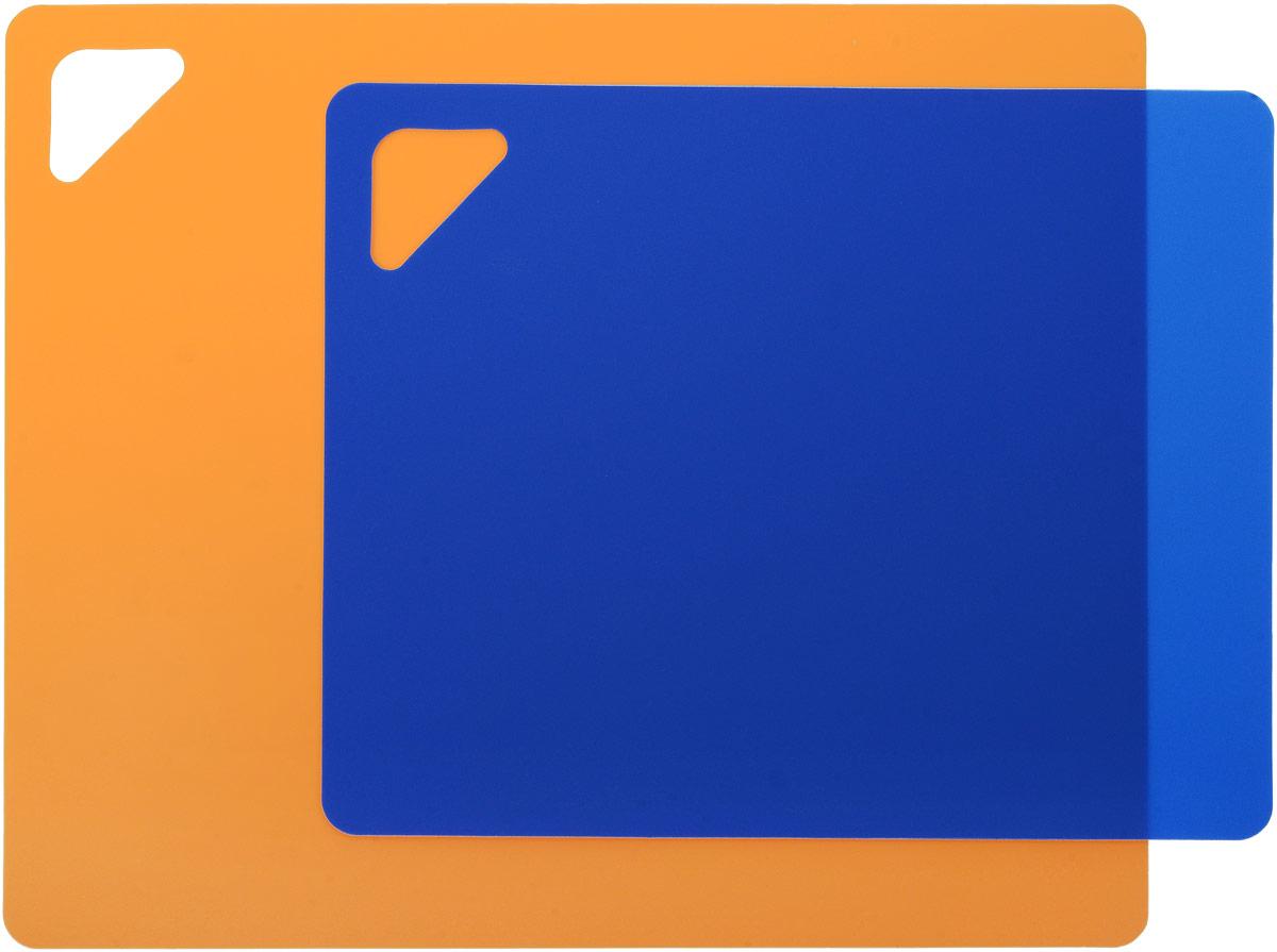 """Разделочная доска """"Домашний Сундук"""", гибкая, цвет: оранжевый, синий, 2 шт"""
