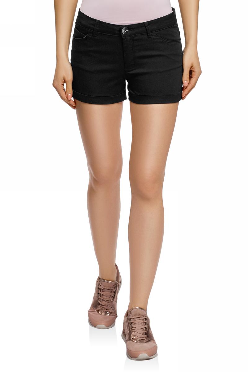 Шорты женские oodji Ultra, цвет: черный джинс. 12807082B/45491/2900W. Размер 25 (40)