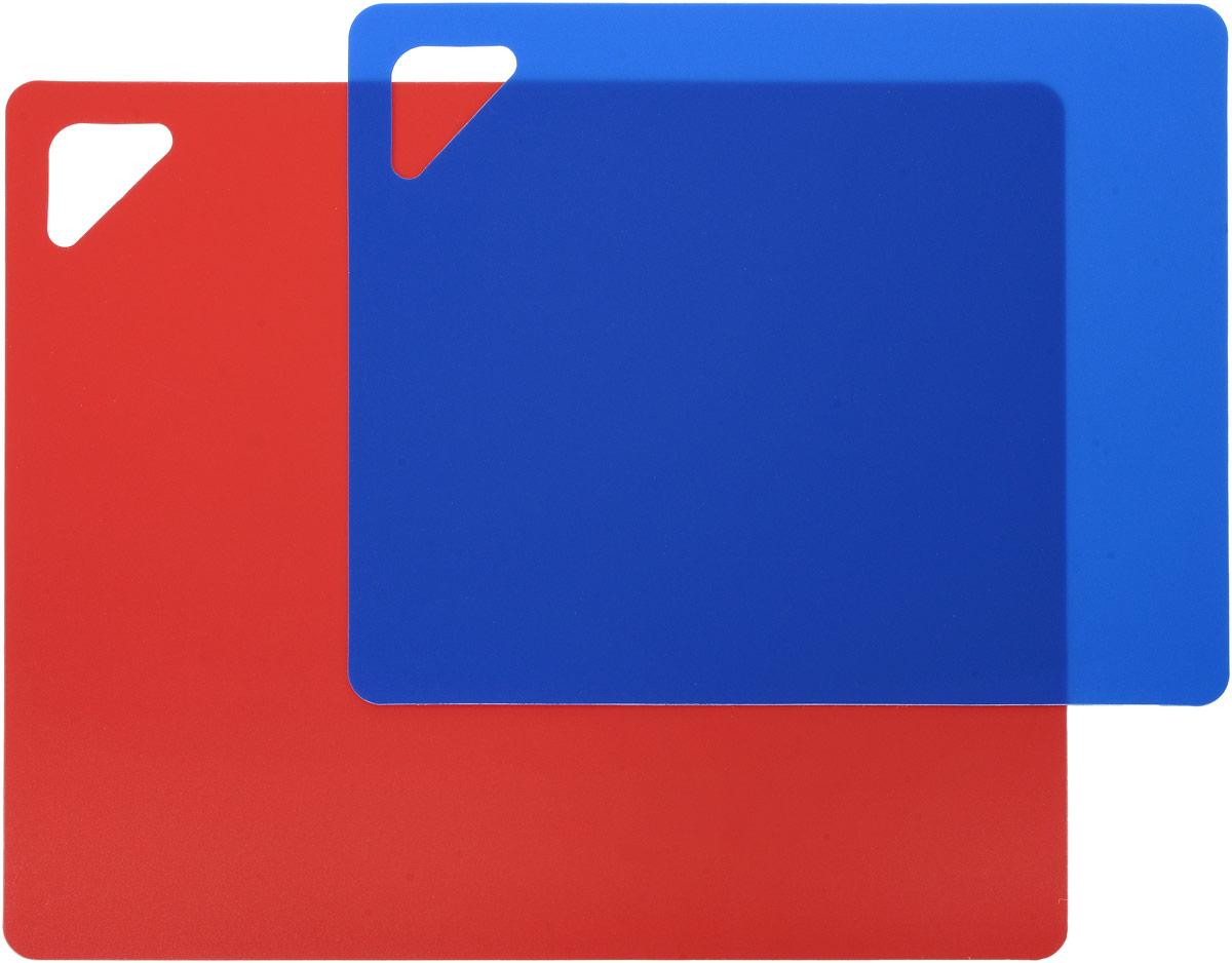 """Разделочная доска """"Домашний Сундук"""", гибкая, цвет: красный, синий, 2 шт"""