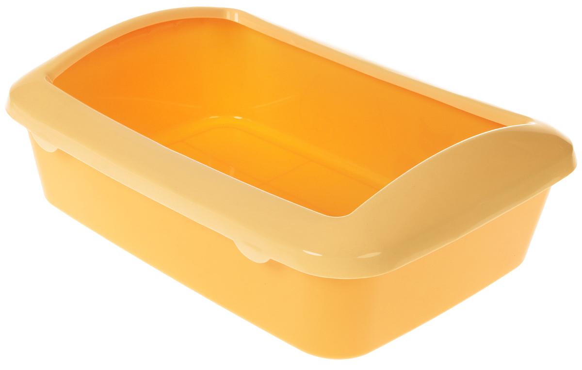 Туалет для кошек №1  Кошка , с бортом, цвет: желтый, бежевый, 41 х 30 х 13 см - Наполнители и туалетные принадлежности