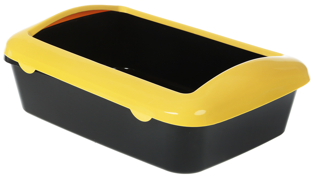Туалет для кошек №1, с бортом, цвет: желтый, 41 х 30 х 13 см статуэтка кролик 30 х 20 х 29 см