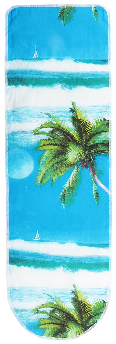 Чехол для гладильной доски Eva Пальма, с поролоном, на резинке, 120 х 38 смЕ13*_пальмаЧехол для гладильной доски Eva Пальма, с поролоном, на резинке, 120 х 38 см