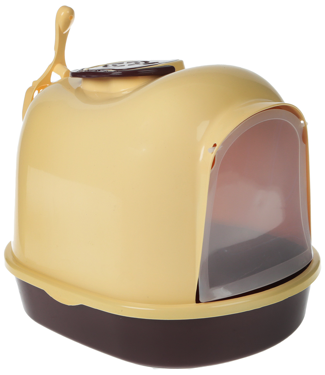 Туалет-бокс для кошек  №1 , цвет: желтый, коричневый, 49 х 37,5 х 39 см - Наполнители и туалетные принадлежности