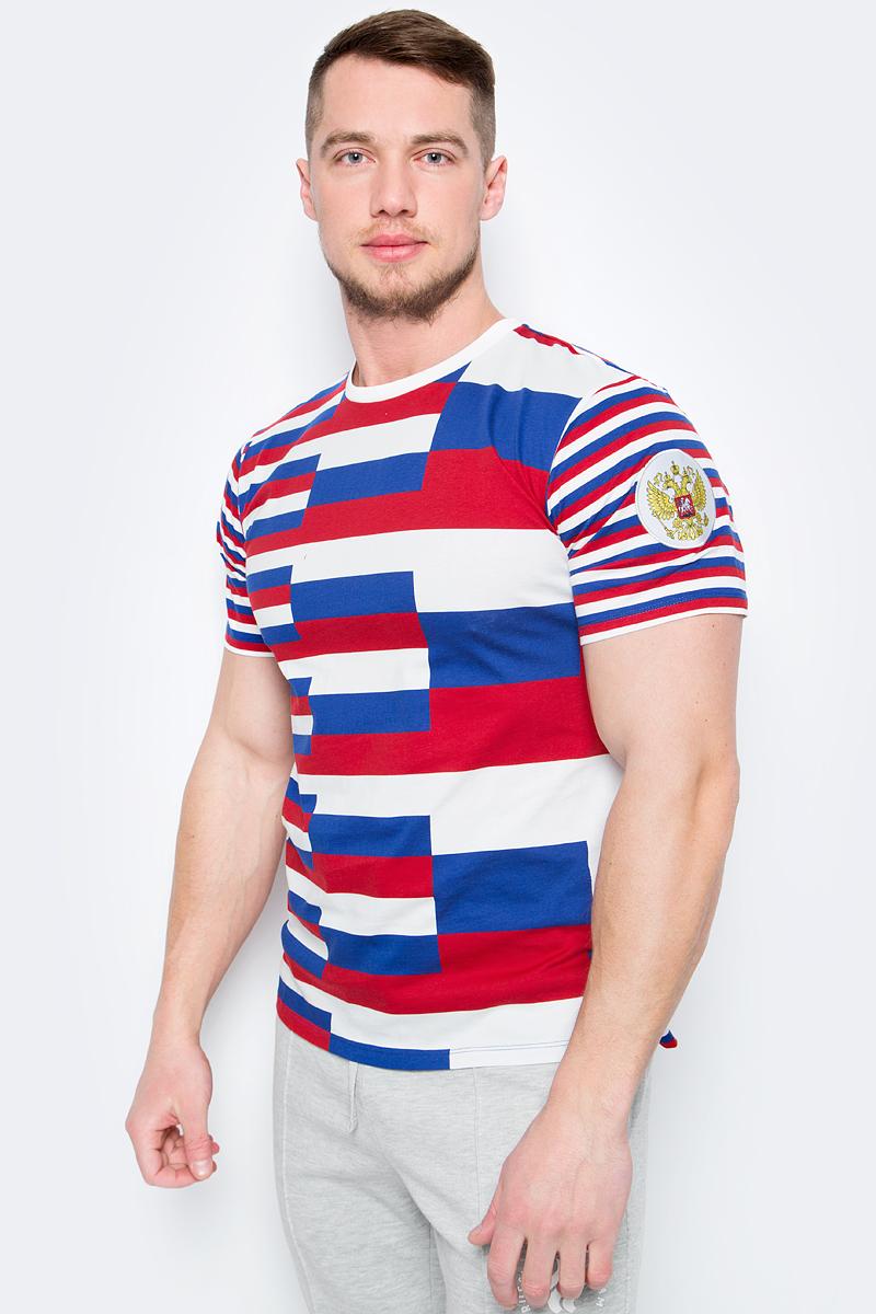 Футболка мужская ZASPORT, цвет: белый, синий, красный. OMA217-070/001-MUL. Размер S (44)