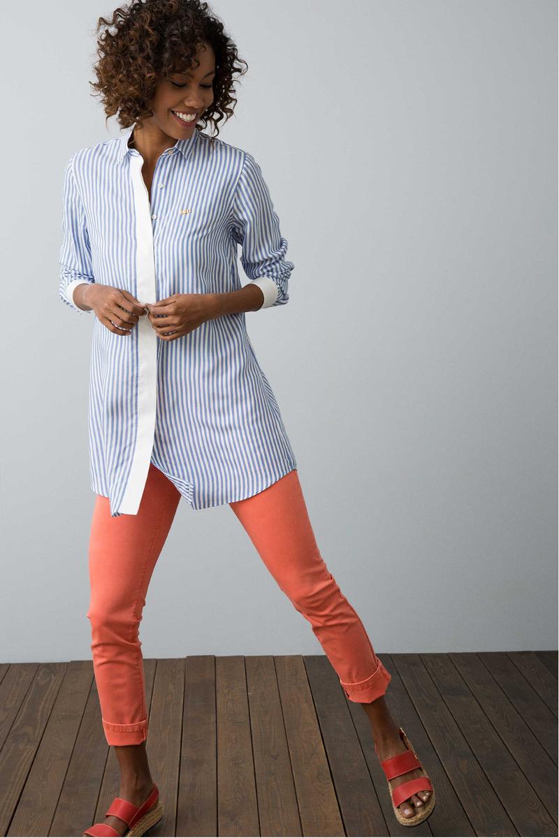 Рубашка женская U.S. Polo Assn., цвет: бело-голубой. G082SZ0320BLONER. Размер 36 (44)