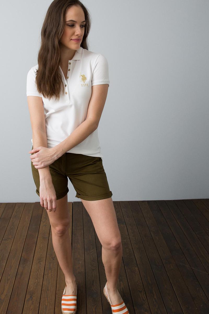 Поло женское U.S. Polo Assn., цвет: белый. G082SZ0110MTS022IY08-011. Размер XL (50) платье женское u s polo assn цвет хаки g082sz0750mts02iy08 075 vr111 размер xl 50
