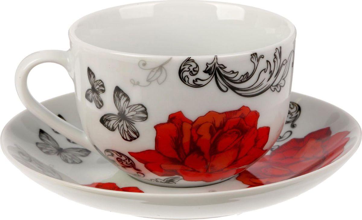 Чайная пара Розы, цвет: белый, 2 предмета1538039Яркий, неповторимый набор создан, чтобы моментально поднимать настроение и дарить радость. А любой напиток станет вкуснее, если пить его из такой посуды.Комплект с благородным дизайном изготовлен из лёгкой керамики. Это отличный подарок, который придётся по душе всем любителям чая или кофе.В набор входит:чашка с рисунком, 220 мл;блюдце с рисунком, 15 см.Пара преподносится в подарочной коробке с индивидуальным дизайном.