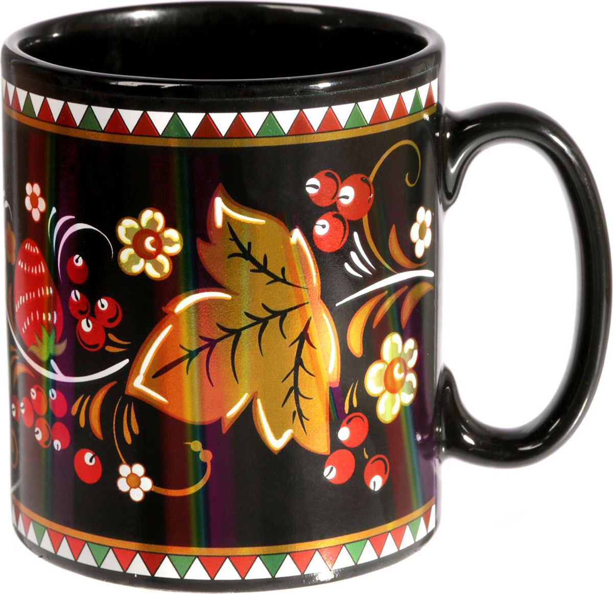 Кружка Хохлома, цвет: черный, 300 мл1778335Изделие обладает следующими особенностями:необычный для кружек чёрный цвет;блестящий, переливающийся рисунок;можно мыть в посудомоечной машине.С такой кружкой каждое чаепитие станет особенным.