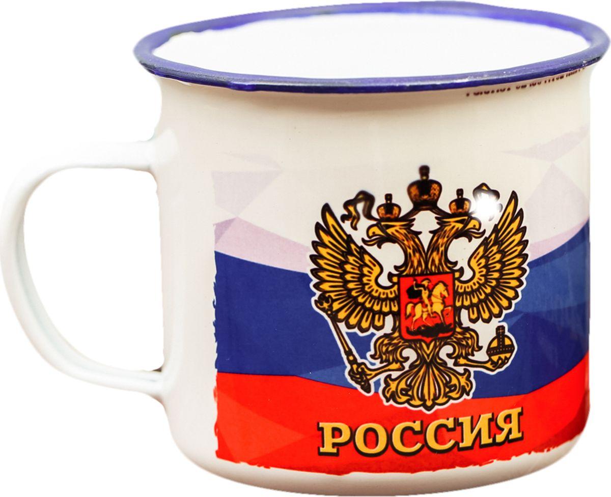 """Кружка """"Россия"""" изготовлена из эмалированной стали. Такое изделие не разобьётся, его легко мыть.Особенности:не впитывает запахов,краска не сходит со временем,ручка не нагревается от горячей жидкости.Рекомендуется использовать неабразивные моющие средства."""