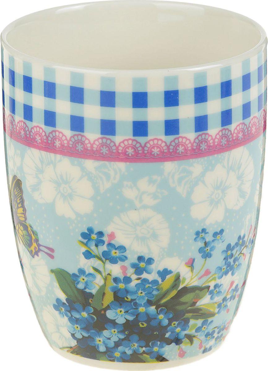 Кружка Доляна Бабочка на цветке, цвет: голубой, 350 мл