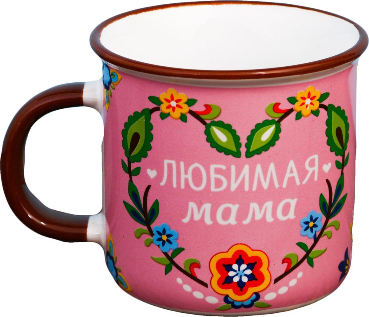 Кружка Любимая мама, цвет: розовый, 200 мл2434050Кружка выполнена в винтажном стиле. Такой аксессуар — символ целой эпохи, о которой у многих остались тёплые воспоминания. Предмет украшен ярким рисунком и дополнен подарочной упаковкой.Практические достоинства кружки:можно использовать в посудомоечных машинах и СВЧ-печах,ручка не нагревается от горячих жидкостей.
