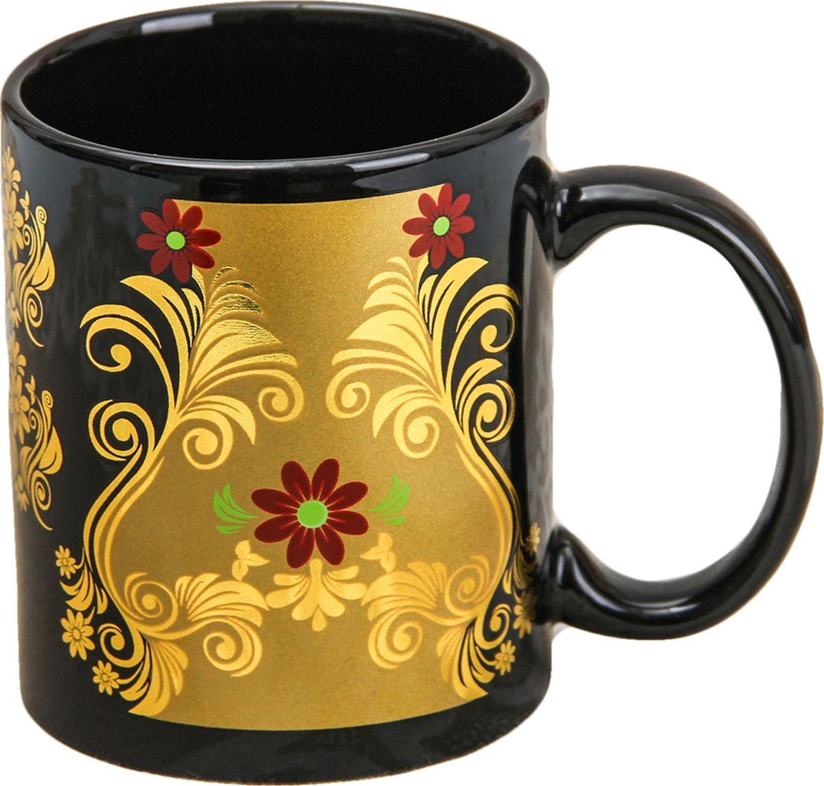 Кружка Доляна Золотой цветок, цвет: черный, 350 мл