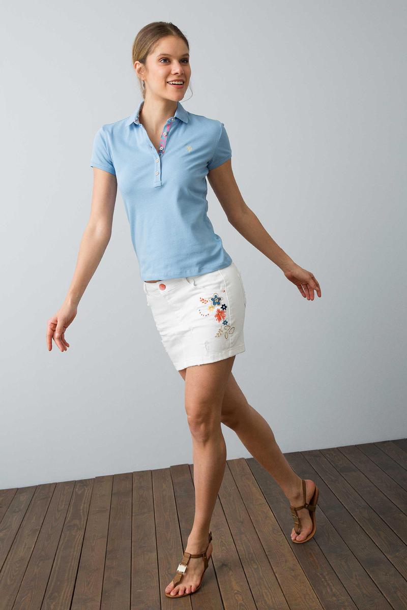 Поло женское U.S. Polo Assn., цвет: голубой. G082SZ0110RP01IY08-011. Размер L (48) поло женское u s polo assn цвет розовый g082sz0110tp01iy06 011 размер xs 42