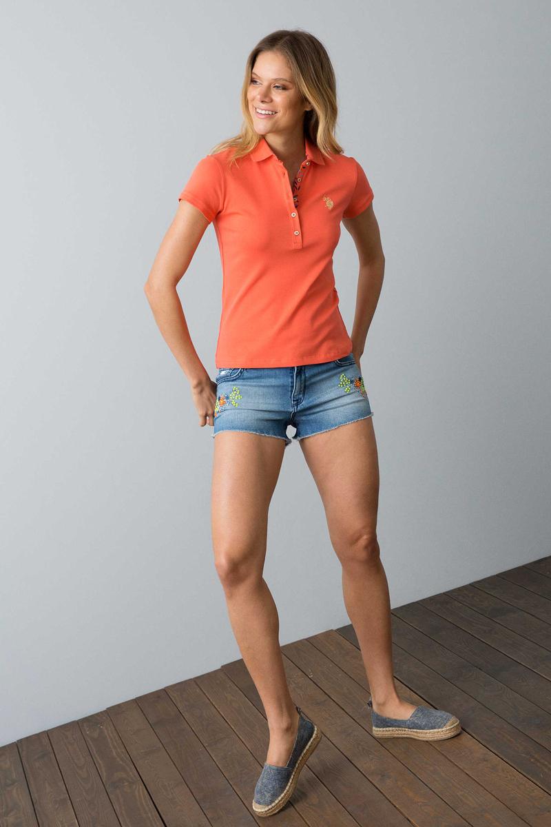 Поло женское U.S. Polo Assn., цвет: оранжевый. G082SZ0110RP01IY08-011. Размер L (48) комбинезон quelle buffalo london 706807