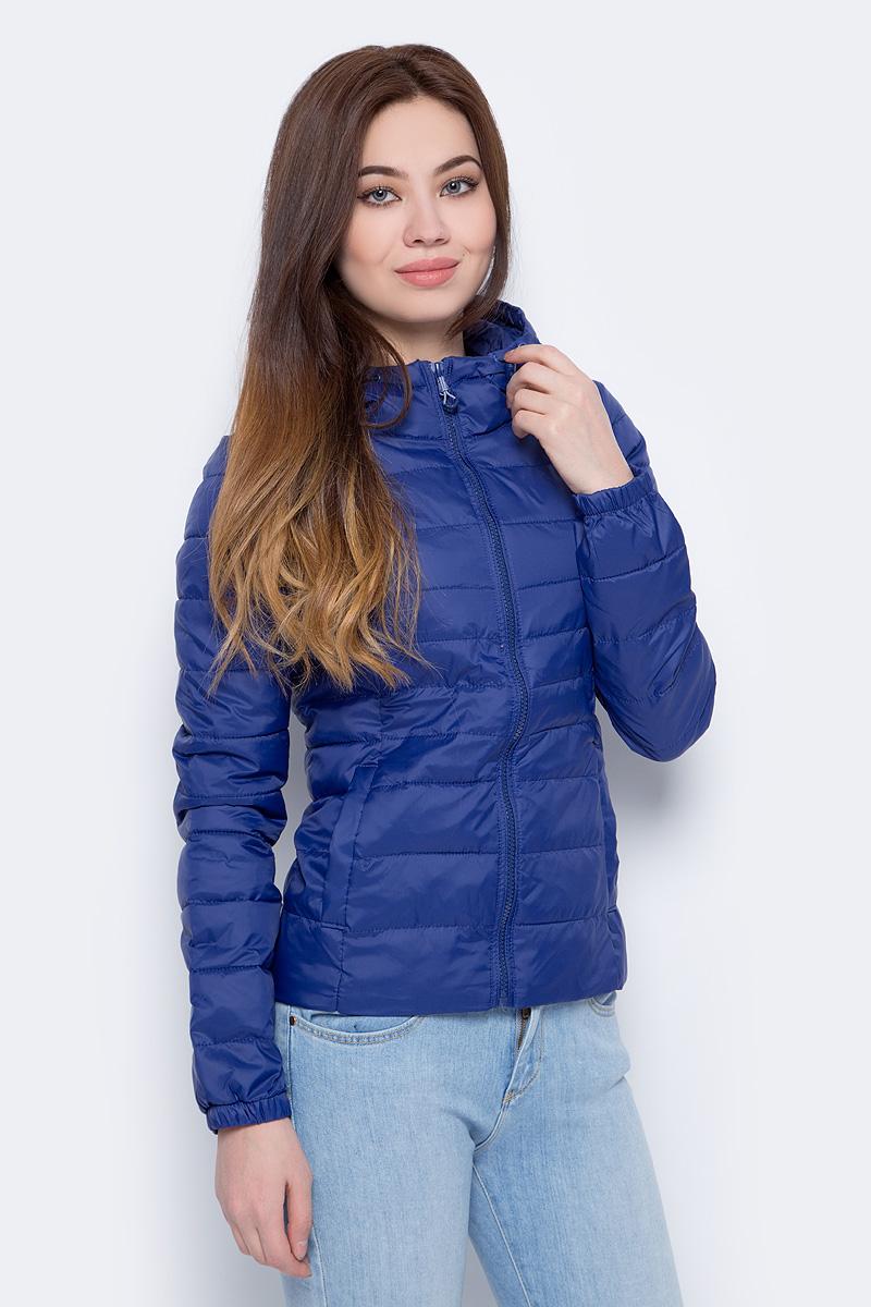 Куртка женская Only, цвет: синий. 15145815. Размер M (44)15145815Утепленная куртка от Only выполнена из нейлона. Укороченная модель с длинными рукавами и капюшоном застегивается на молнию, по бокам дополнена втачными карманами.