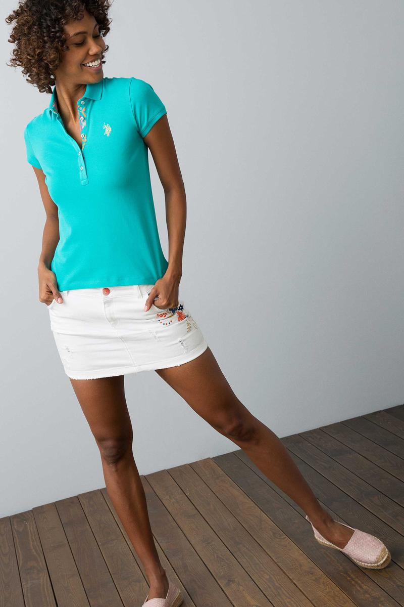 Поло женское U.S. Polo Assn., цвет: темно-бирюзовый. G082SZ0110RP01IY08-011. Размер XL (50) платье женское u s polo assn цвет хаки g082sz0750mts02iy08 075 vr111 размер xl 50