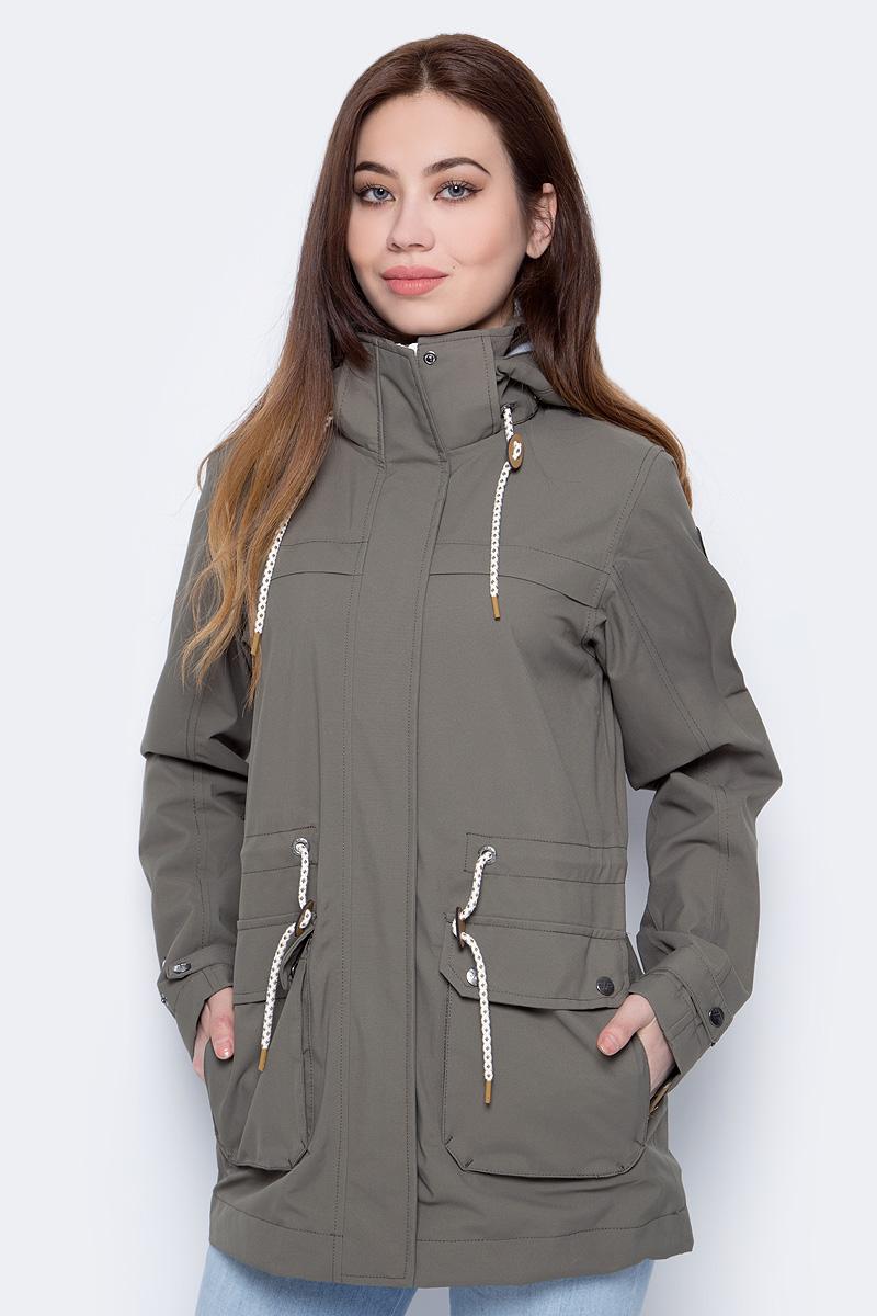 Куртка женская Icepeak, цвет: темно-зеленый. 953000587IV_580. Размер 42 (48)953000587IV_580Легкая куртка от Icepeak выполнена из высококачественного полиэстера. Модель с длинными рукавами и капюшоном застегивается на молнию и ветрозащитный клапан, по бокам дополнена накладными карманами с клапанами на кнопках.