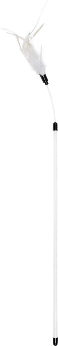 Дразнилка для кошек Уют, с перьями, цвет: белый, 40 смИУ23_белый, белый