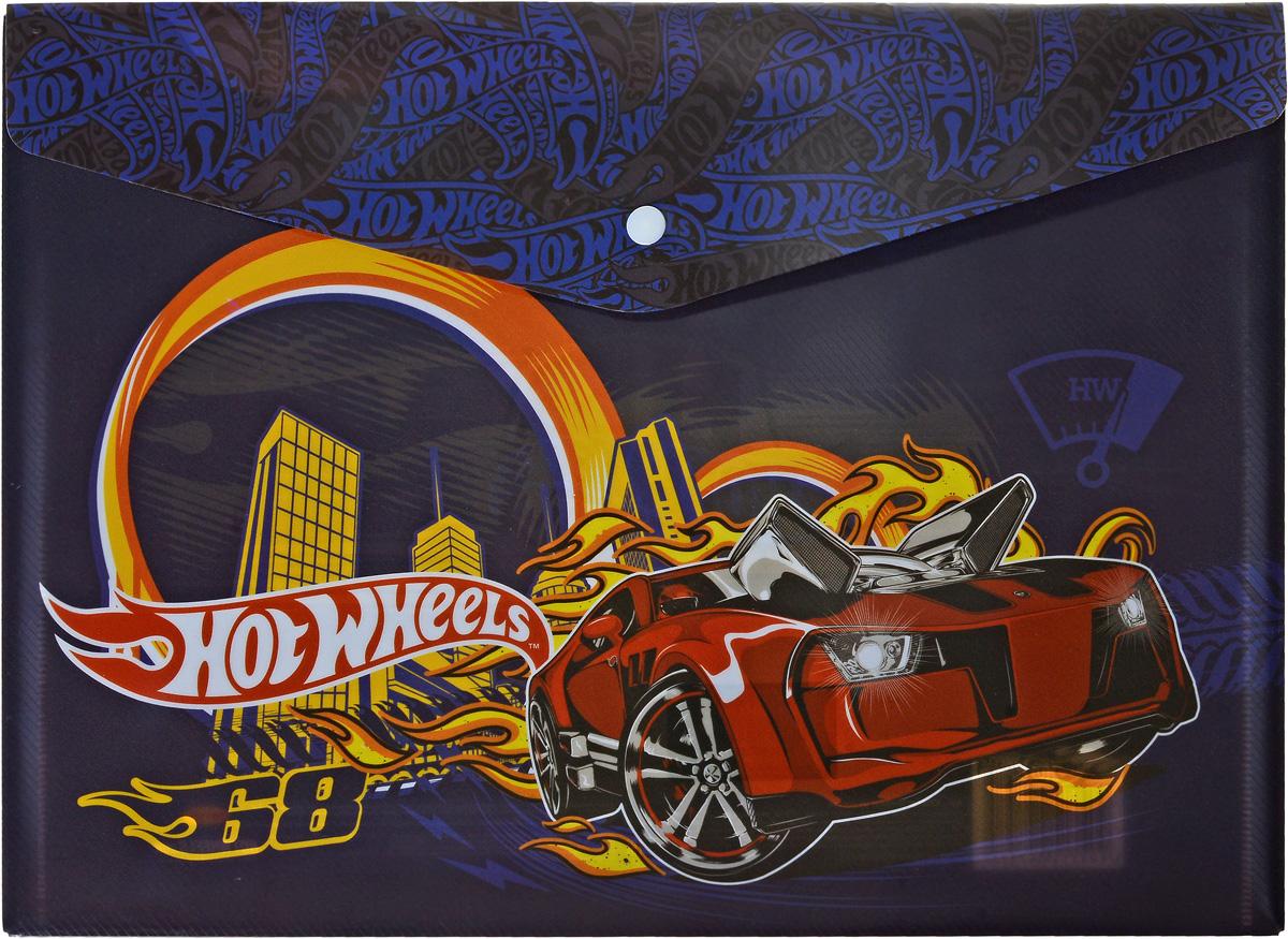 Фото Mattel Папка-конверт на кнопке Hot Wheels формат А4 цвет темно-синий
